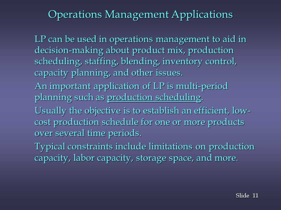 Operations Management Applications