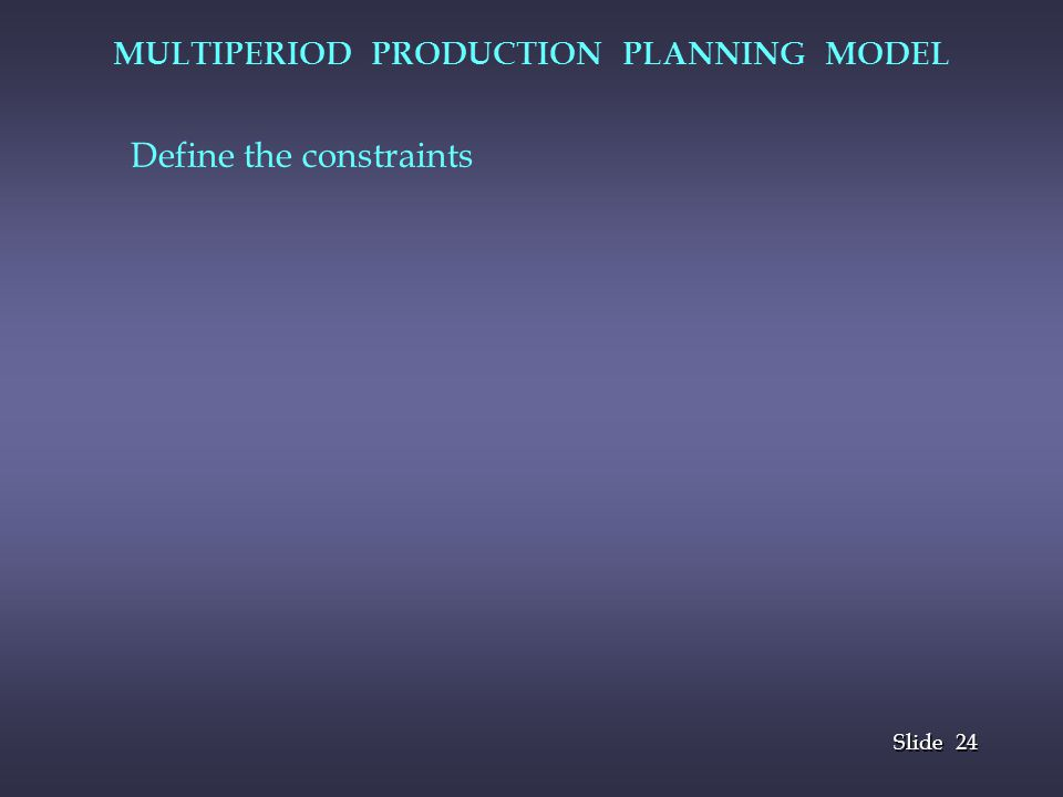 MULTIPERIOD PRODUCTION PLANNING MODEL