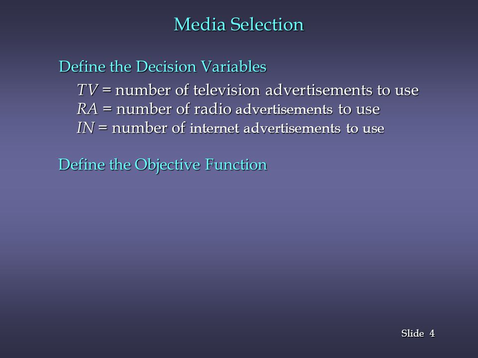 Media Selection Define the Decision Variables