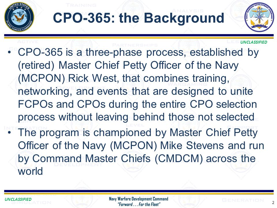 CPO-365: the Background