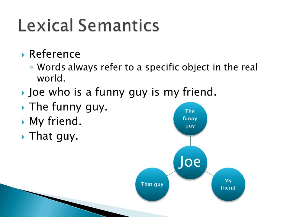 Lexical Semantics Reference Joe who is a funny guy is my friend.