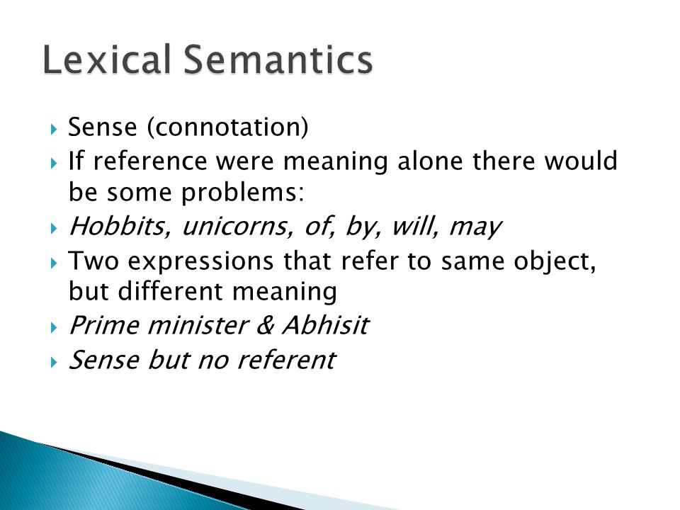 Lexical Semantics Sense (connotation)