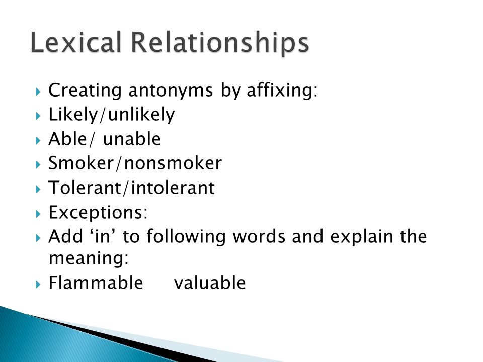 Lexical Relationships