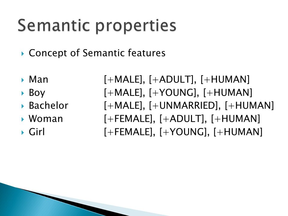 Semantic properties Concept of Semantic features