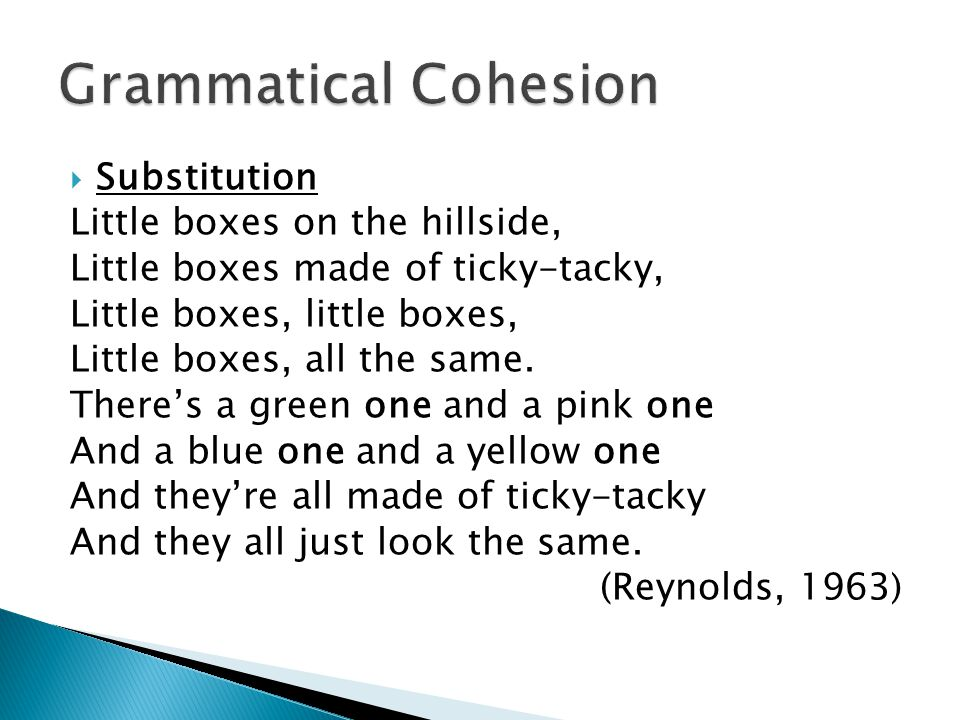 Grammatical Cohesion Substitution Little boxes on the hillside,