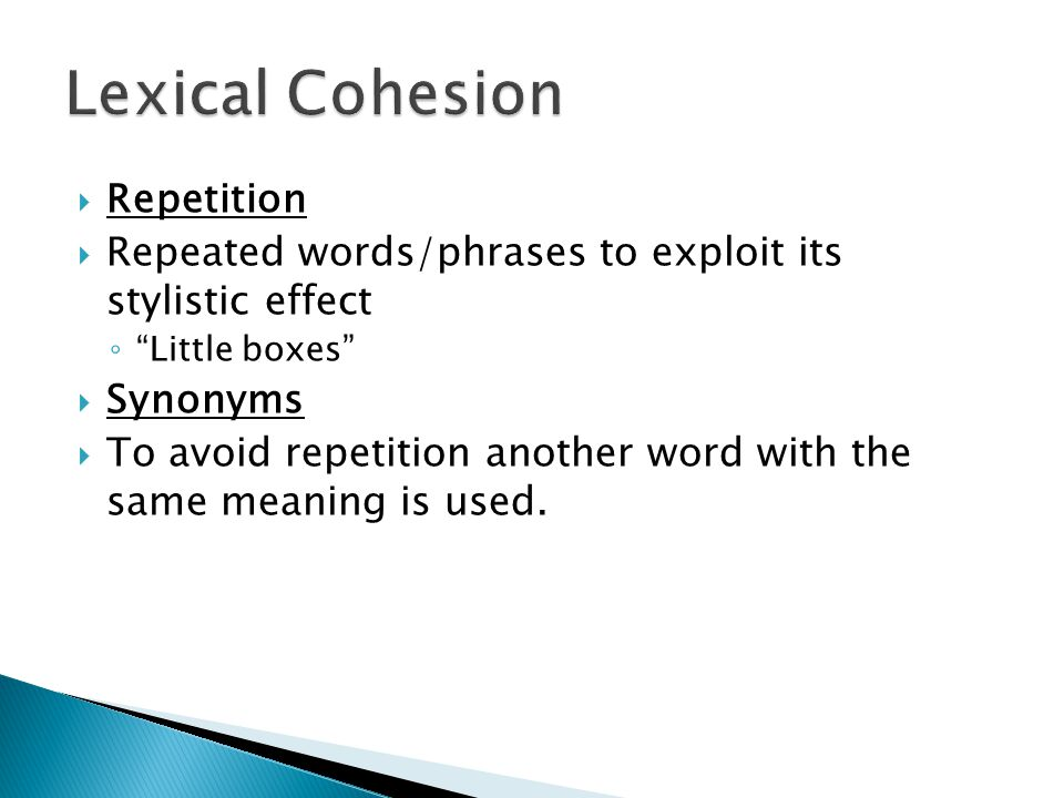 Lexical Cohesion Repetition