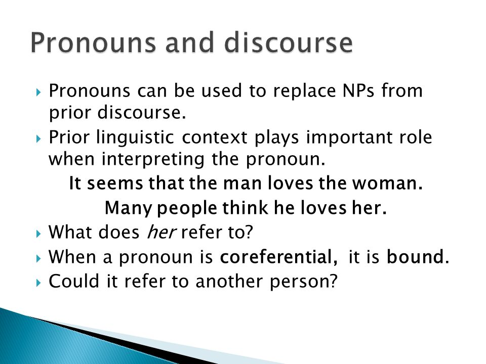 Pronouns and discourse
