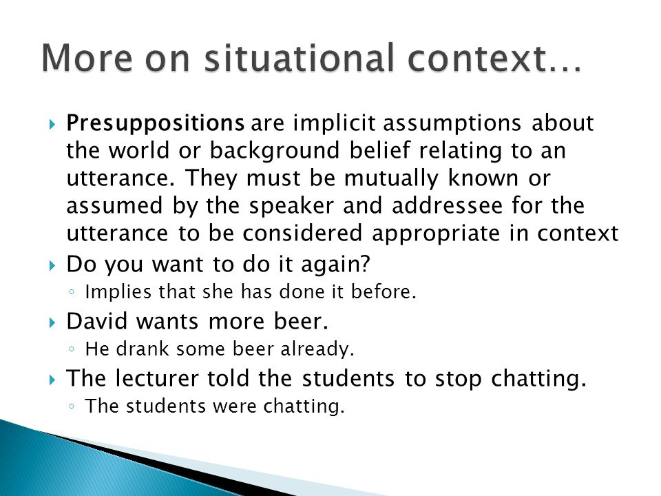 More on situational context…