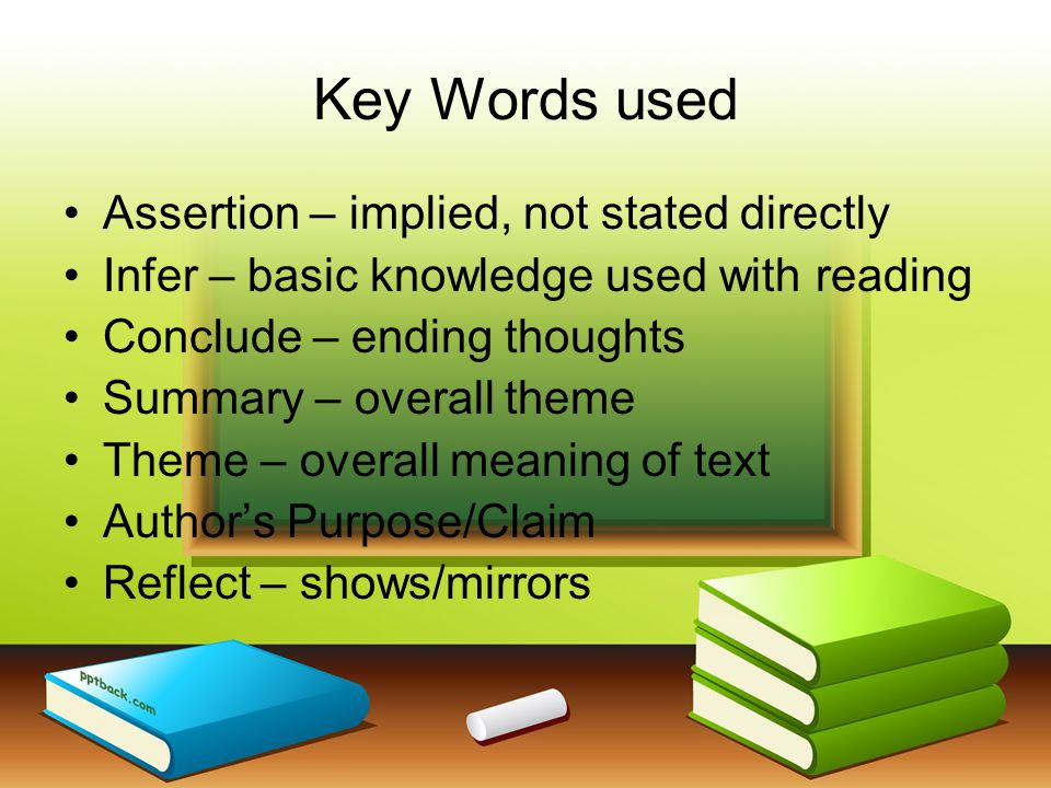 Key Words used Assertion – implied, not stated directly