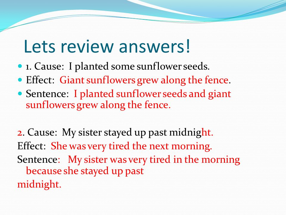 Lets review answers! 1. Cause: I planted some sunflower seeds.