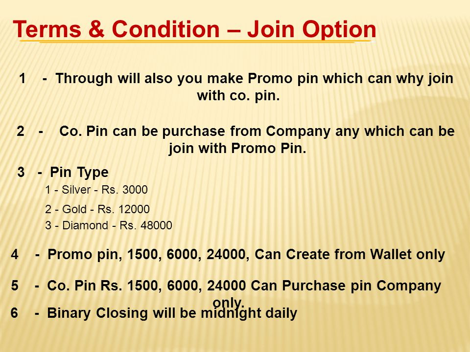 Terms & Condition – Join Option