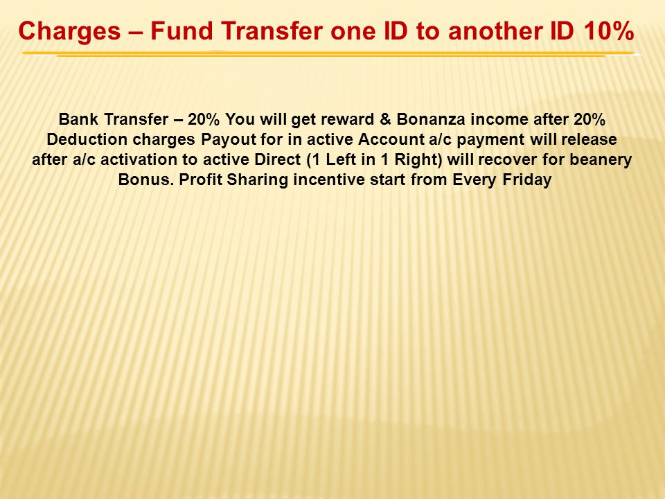 Charges – Fund Transfer one ID to another ID 10%