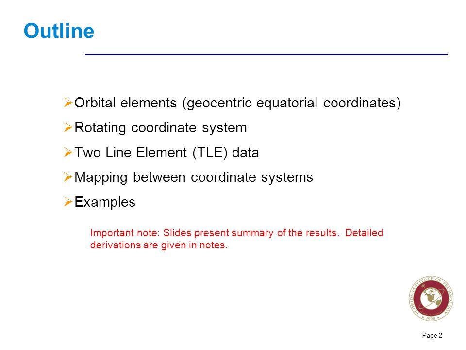 Outline Orbital elements (geocentric equatorial coordinates)