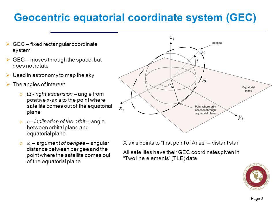 Geocentric equatorial coordinate system (GEC)