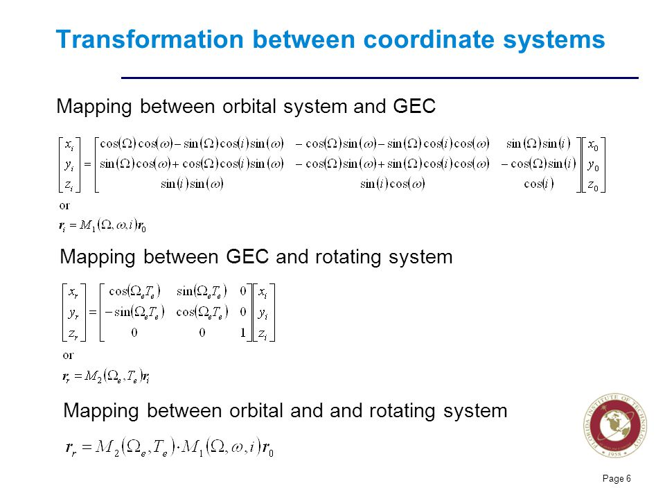 Transformation between coordinate systems