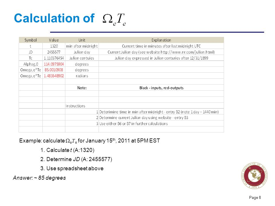 Example: calculate WeTe for January 15th, 2011 at 5PM EST