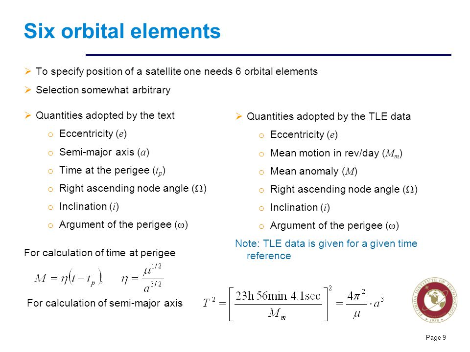 Six orbital elements To specify position of a satellite one needs 6 orbital elements. Selection somewhat arbitrary.
