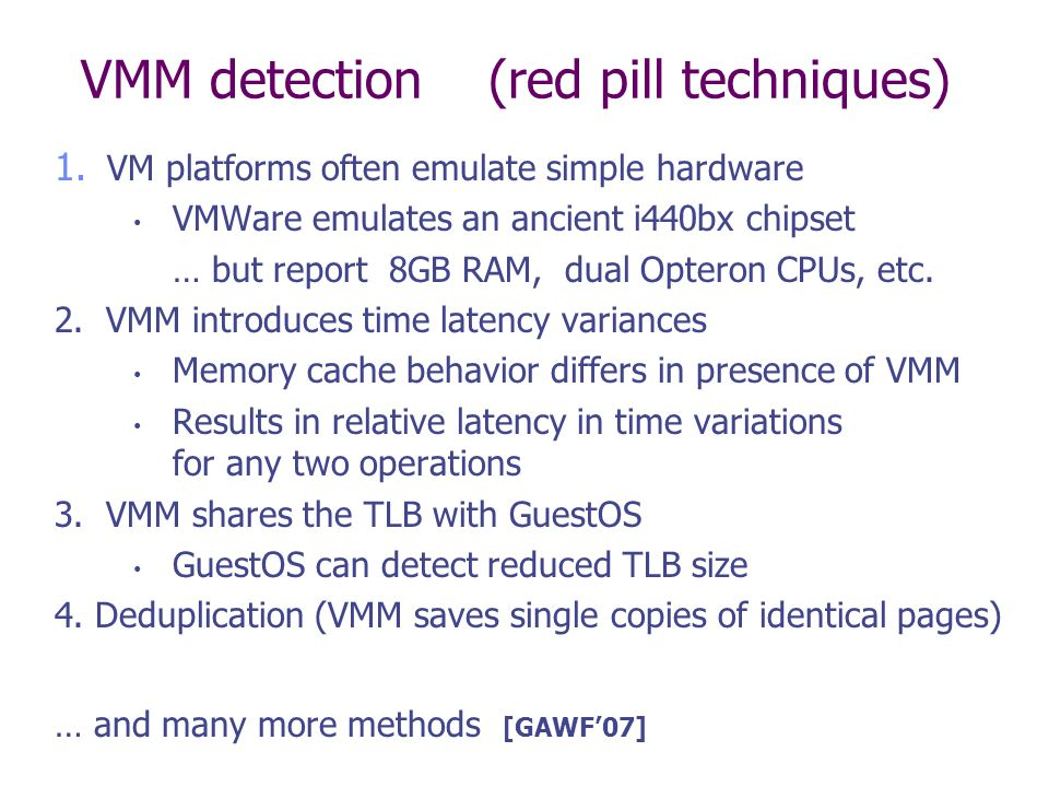 VMM detection (red pill techniques)