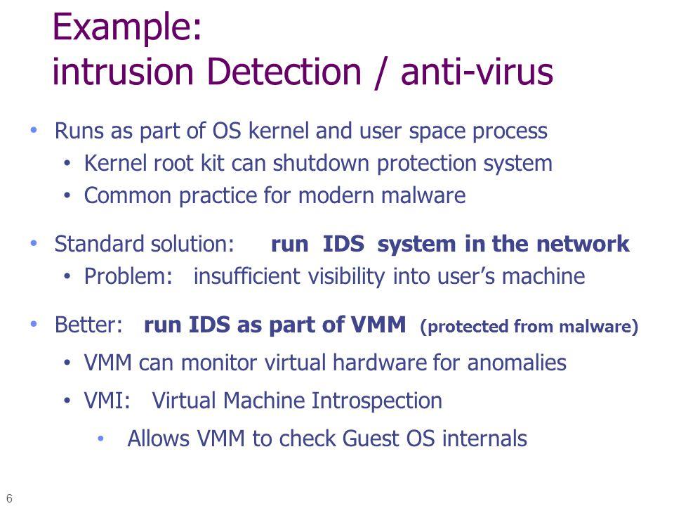 Example: intrusion Detection / anti-virus