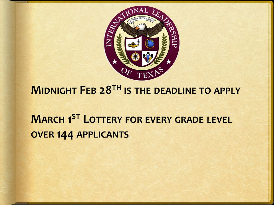 Midnight Feb 28th is the deadline to apply March 1st Lottery for every grade level over 144 applicants