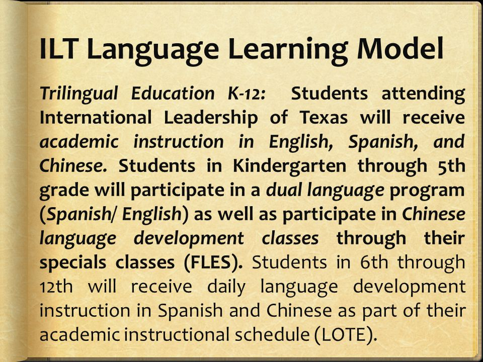 ILT Language Learning Model