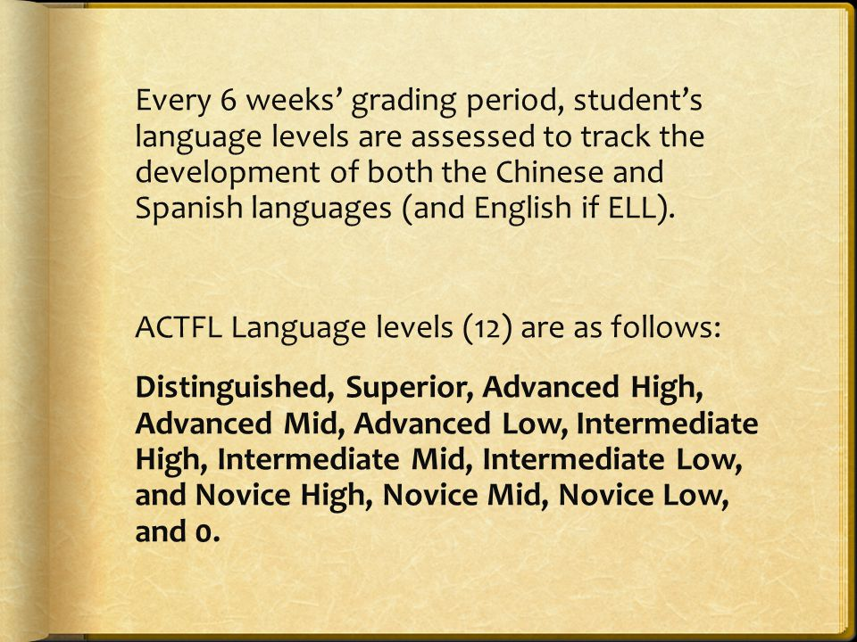 Every 6 weeks' grading period, student's language levels are assessed to track the development of both the Chinese and Spanish languages (and English if ELL).