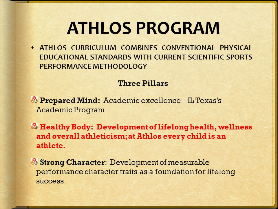ATHLOS PROGRAM ATHLOS CURRICULUM COMBINES CONVENTIONAL PHYSICAL EDUCATIONAL STANDARDS WITH CURRENT SCIENTIFIC SPORTS PERFORMANCE METHODOLOGY.
