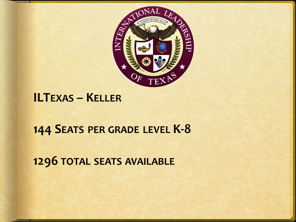 ILTexas – Keller 144 Seats per grade level K-8 1296 total seats available