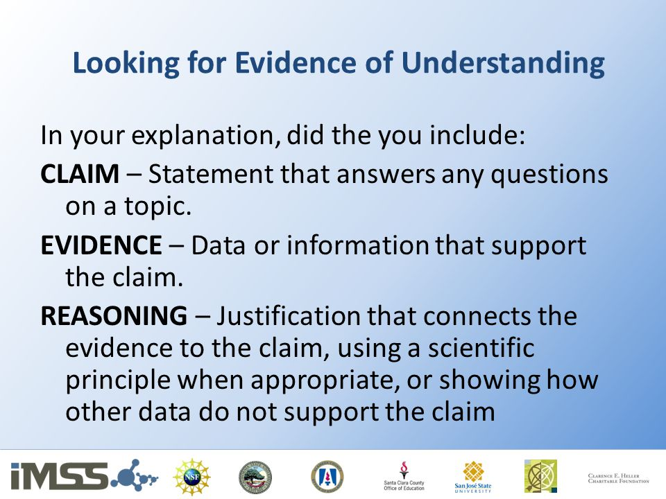 Looking for Evidence of Understanding