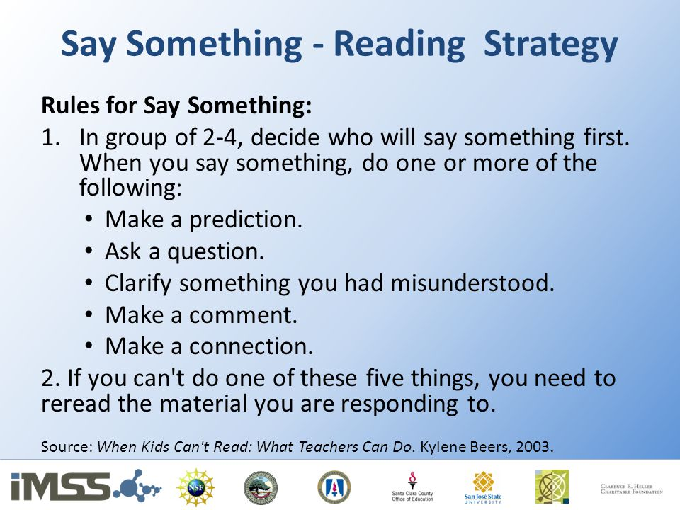 Say Something - Reading Strategy