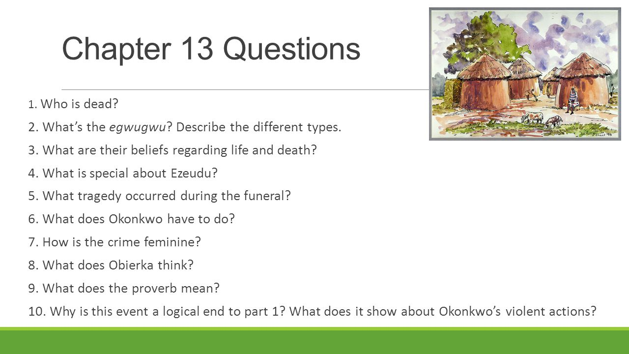 Chapter 13 Questions 1. Who is dead 2. What's the egwugwu Describe the different types. 3. What are their beliefs regarding life and death