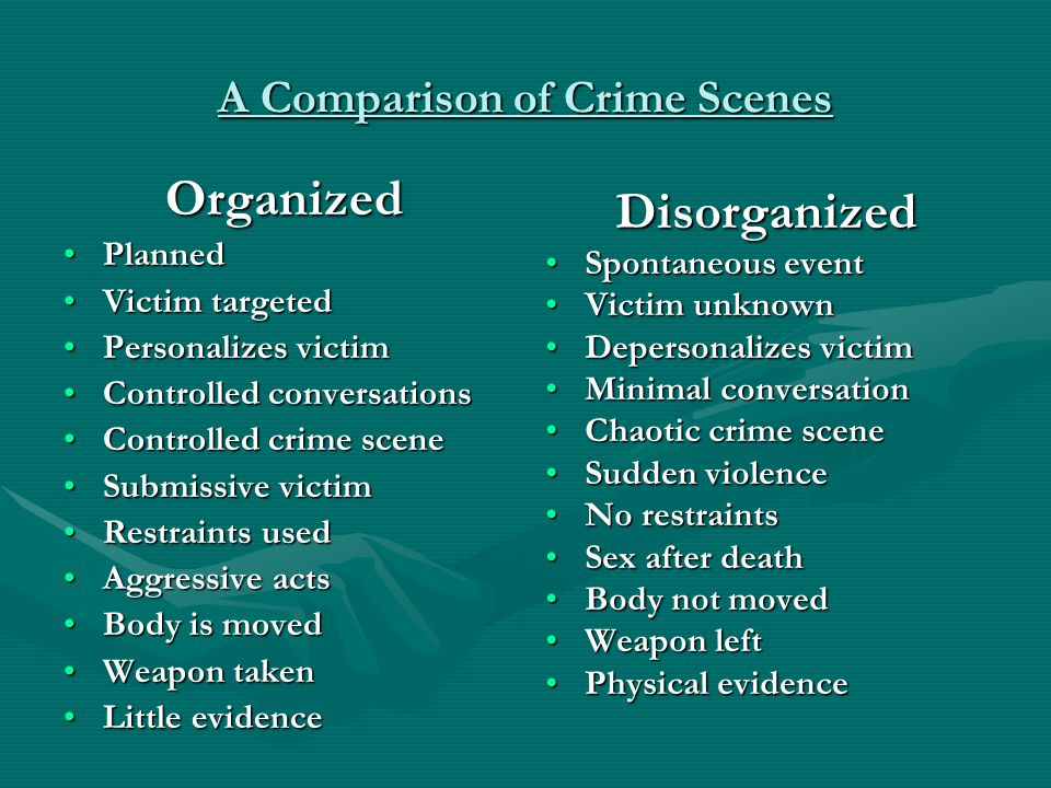 A Comparison of Crime Scenes