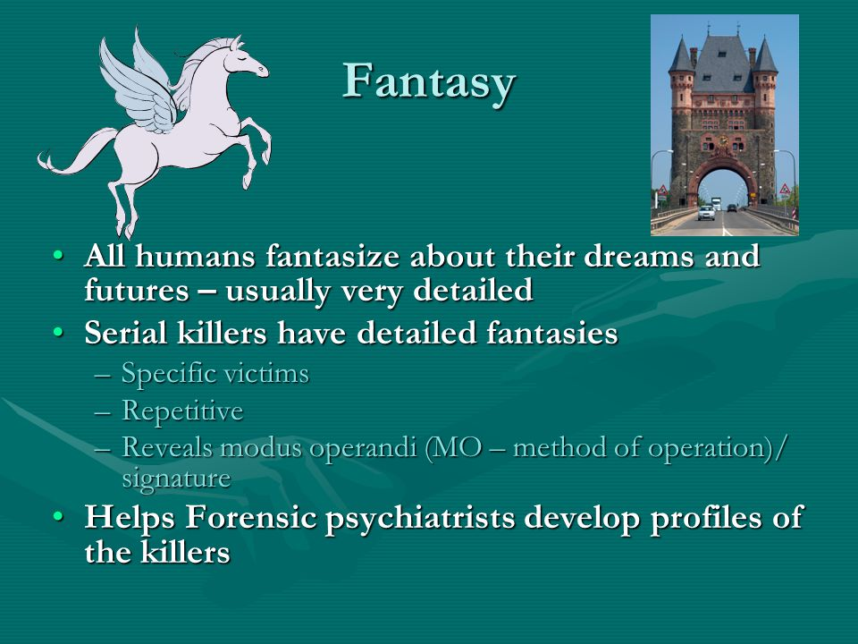Fantasy All humans fantasize about their dreams and futures – usually very detailed. Serial killers have detailed fantasies.