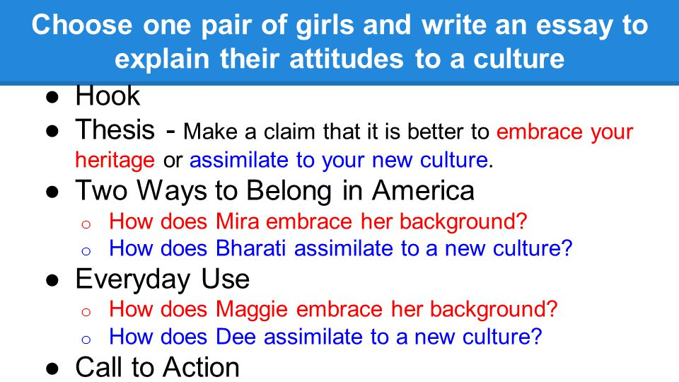 assimilate the new culture essay