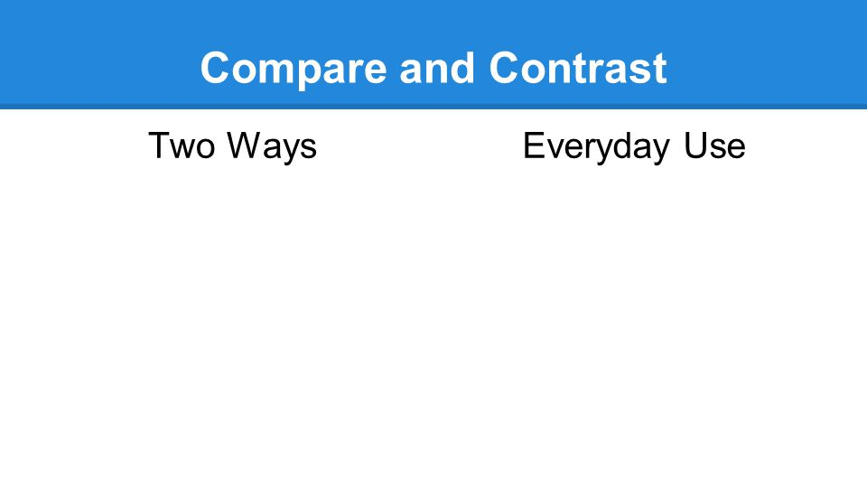 Compare and Contrast Two Ways Everyday Use