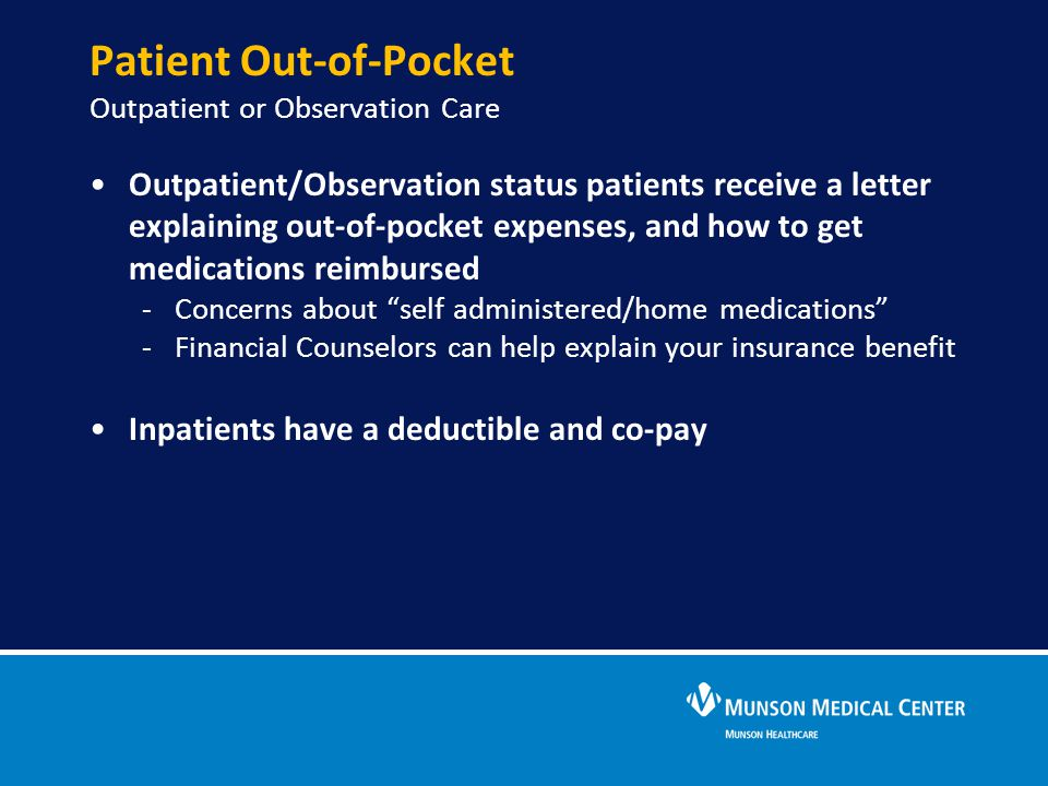 Patient Out-of-Pocket Outpatient or Observation Care