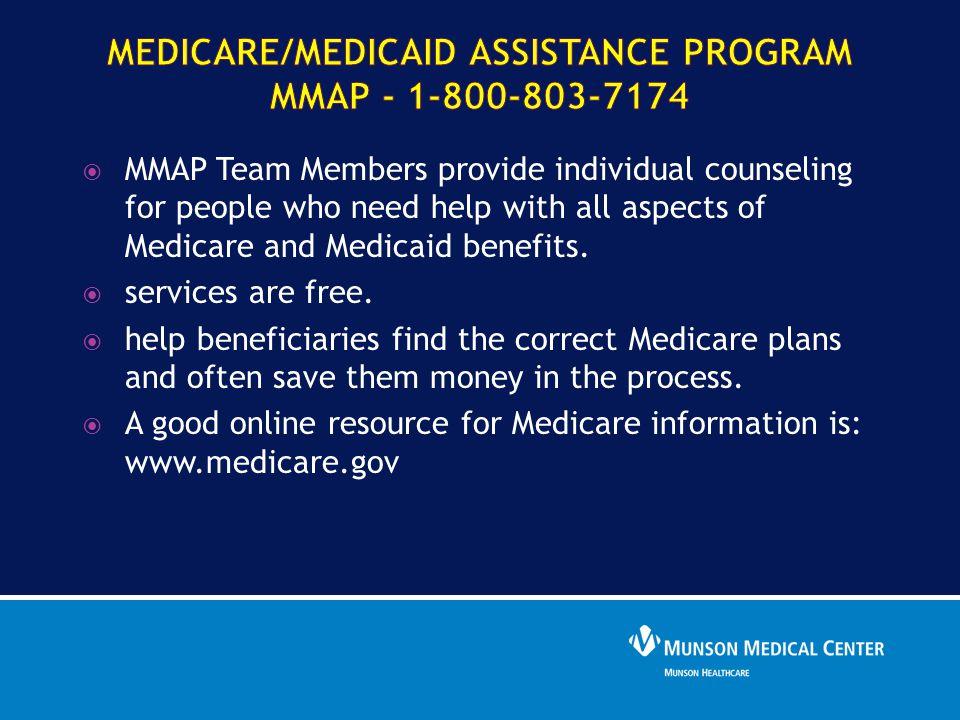 Medicare/Medicaid Assistance Program MMAP - 1-800-803-7174