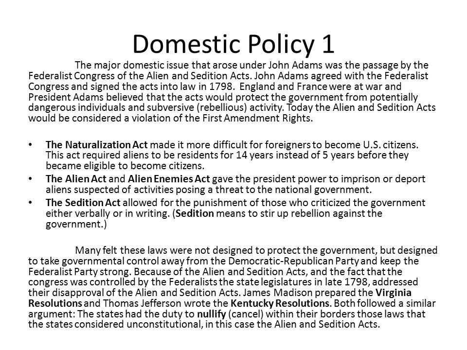Domestic Policy 1