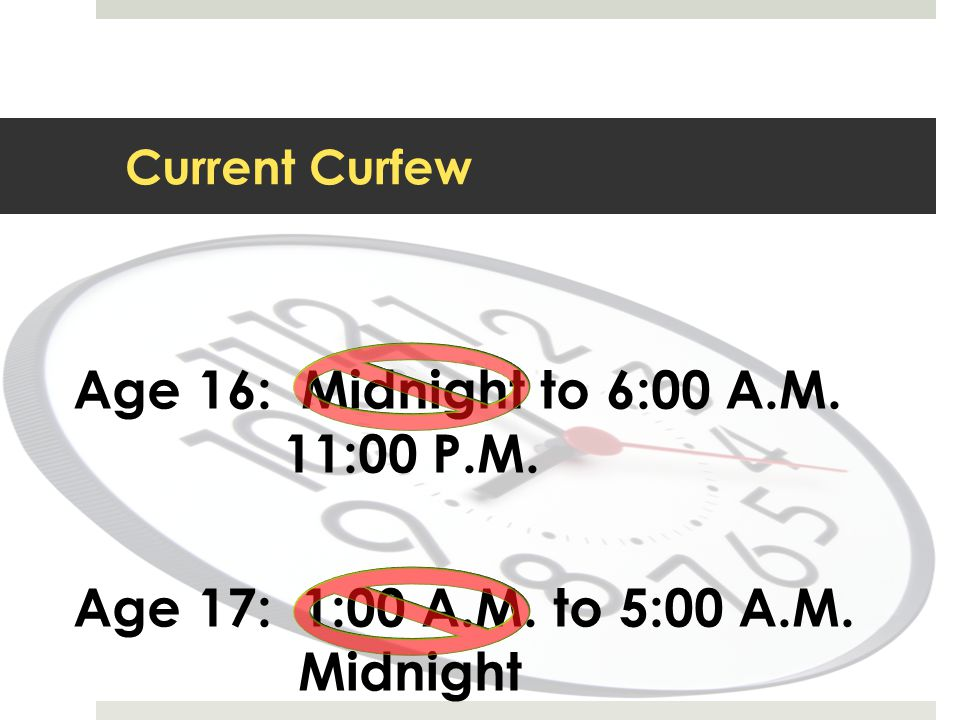 Age 16: Midnight to 6:00 A.M. 11:00 P.M.