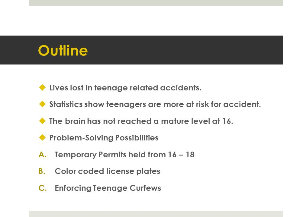 Outline Lives lost in teenage related accidents.