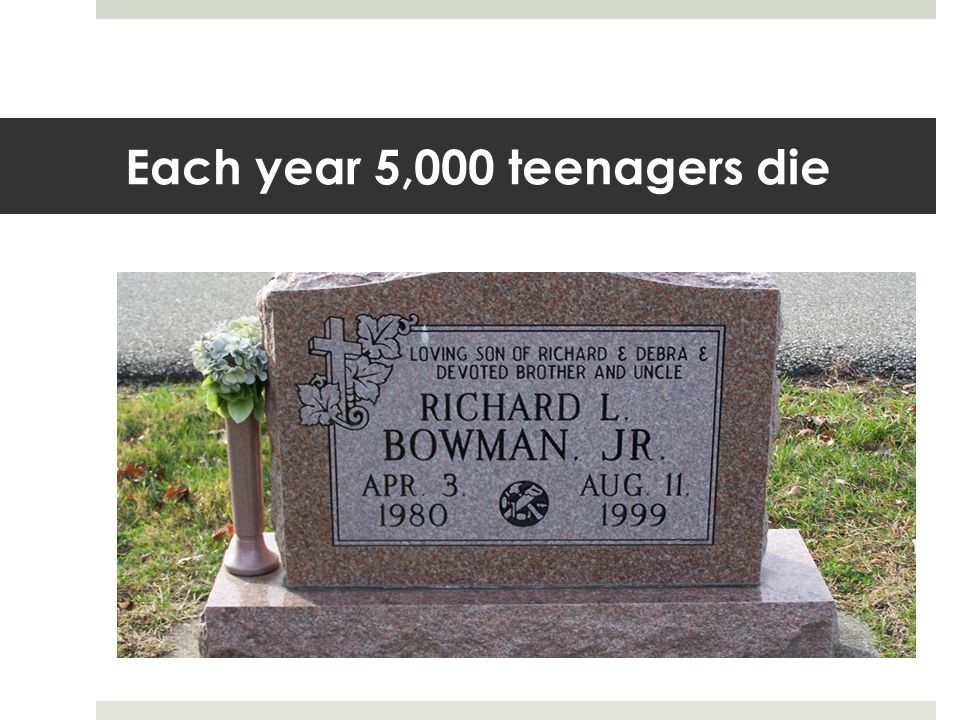 Each year 5,000 teenagers die