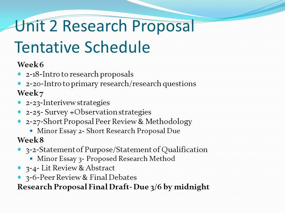 Unit 2 Research Proposal Tentative Schedule
