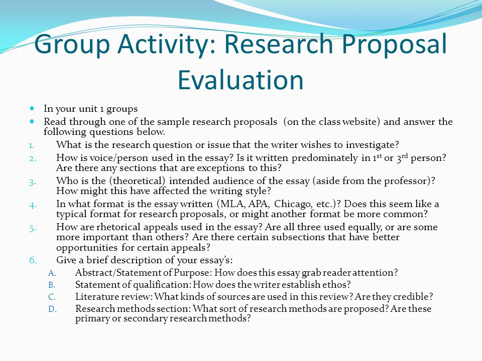 research proposal by group 26 Sample research proposals review the following sample research proposals as you review each, consider how each element in the proposal is described and explained by the researcher, consider what is included, in what.