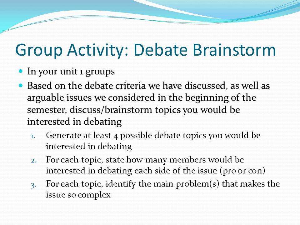 Group Activity: Debate Brainstorm