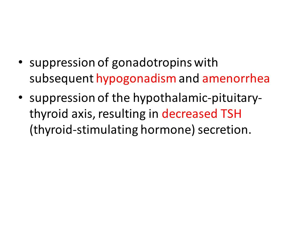 suppression of gonadotropins with subsequent hypogonadism and amenorrhea