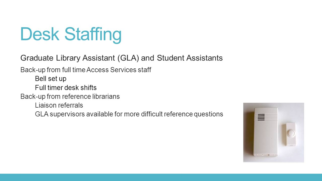 Desk Staffing Graduate Library Assistant (GLA) and Student Assistants
