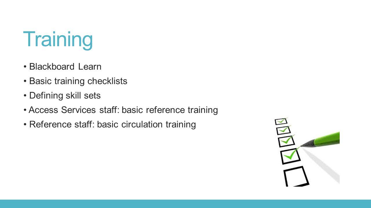 Training Blackboard Learn Basic training checklists