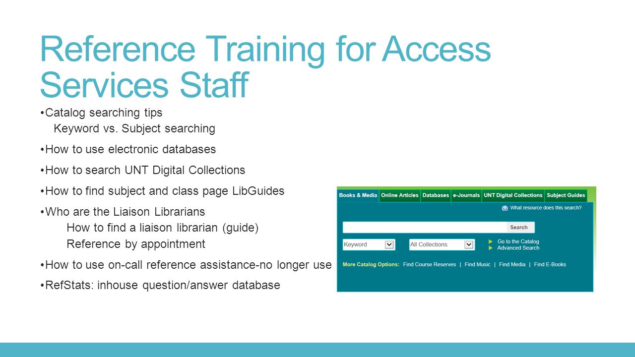 Reference Training for Access Services Staff