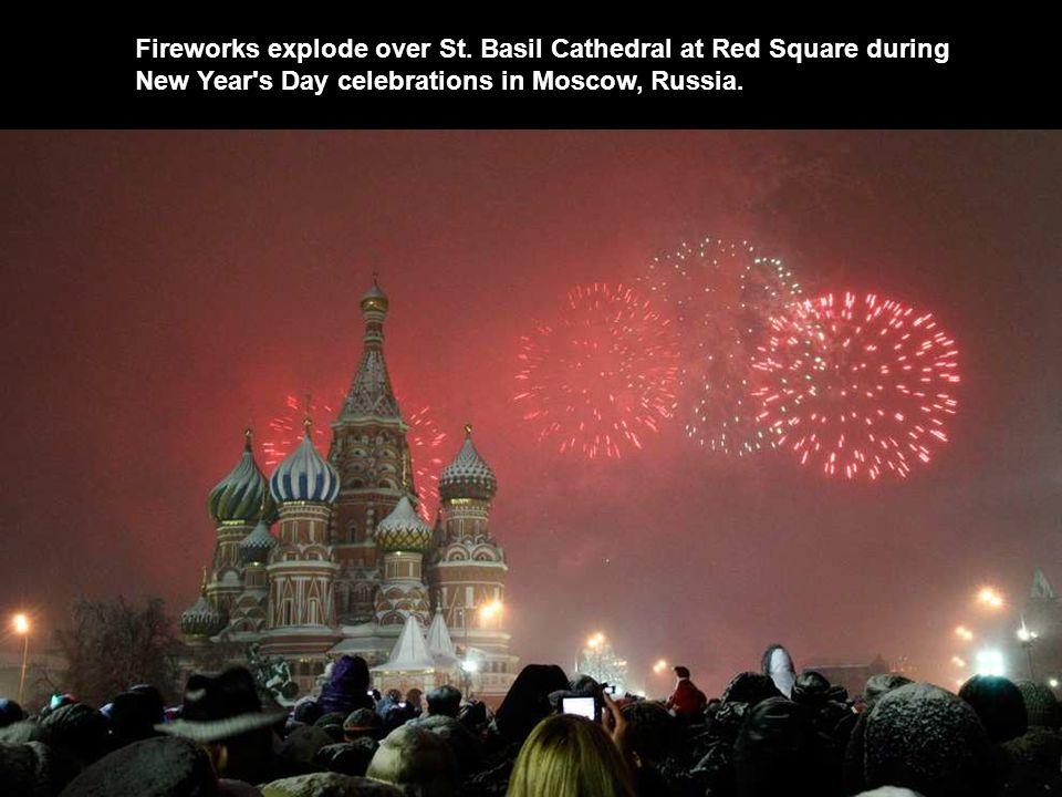 Fireworks explode over St