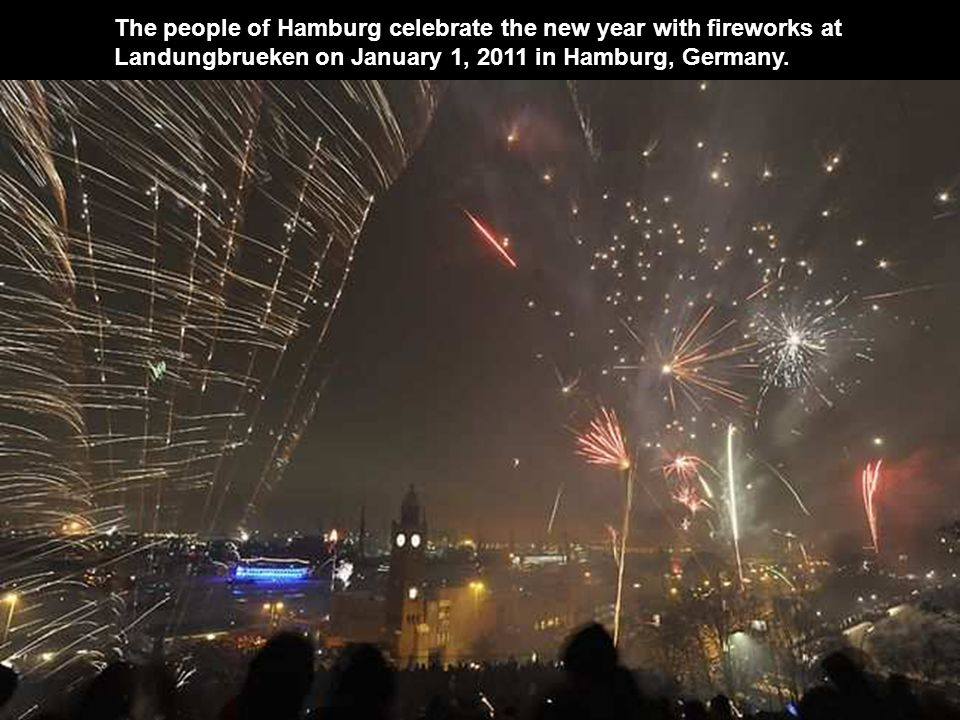 The people of Hamburg celebrate the new year with fireworks at Landungbrueken on January 1, 2011 in Hamburg, Germany.